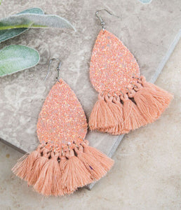 Glitter Fringe Earrings, Peach