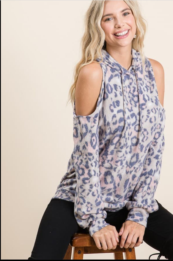 Pink and Blue Leopard Top