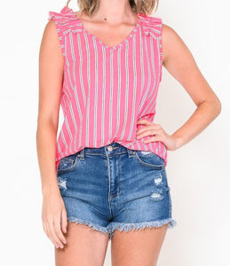 Neon Pink Striped Top
