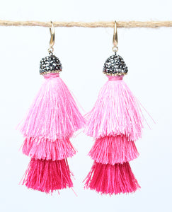 Tassel Showstopper Earrings, Pink