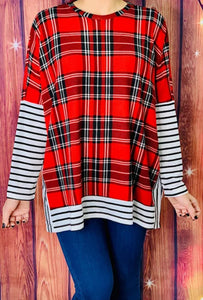 Buffalo Plaid Top with Stripes