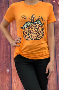 Leopard Print Pumpkin T-Shirt, Orange