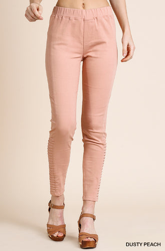 Stretch Moto Jeggings, Dusty Peach