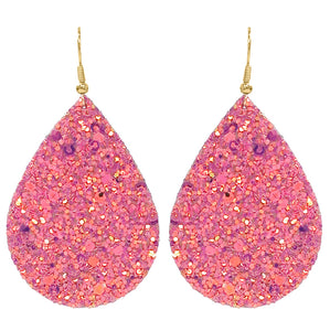 Glitter Teardrop Earrings, Pink