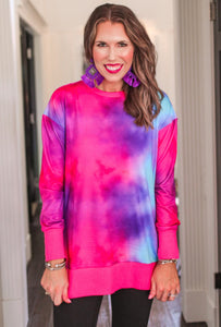 Tie Dye Tunic Top, Purple/Pink