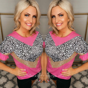 Leopard and Gold Sequin Top, Pink