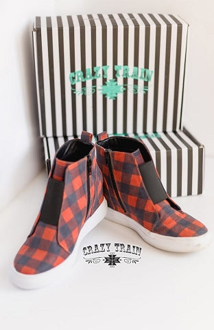 Plaid & Simple Sneaker Wedge, Red/Blk