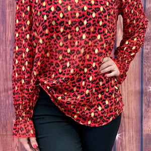 Red V-Neck Leopard Print Top