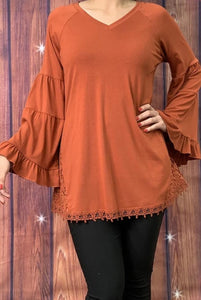 Lace Trim Bell Sleeve Top, Rust