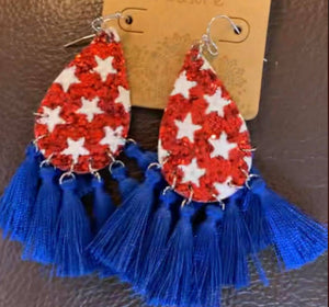 Glitter Star and Tassel Earrings, Red