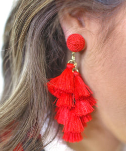 Multi Tassel Earrings, Red