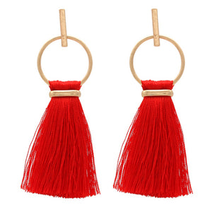 Thread Tassel Earrings, Red