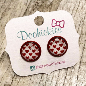 Red Mini Hearts Stud Earrings