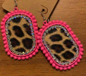 Leopard Rhinestone Earrings, Hot Pink