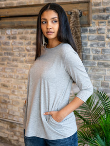 Scoop Neck Tunic Top with Pockets, Grey