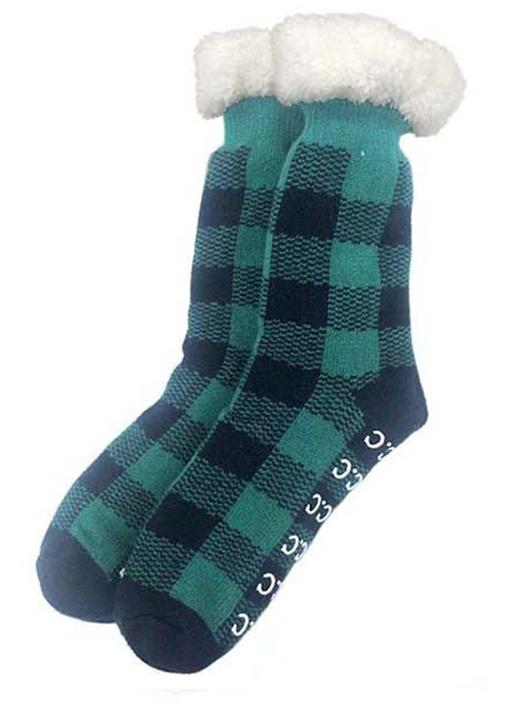 Sherpa Socks, Buffalo Plaid Navy and Green