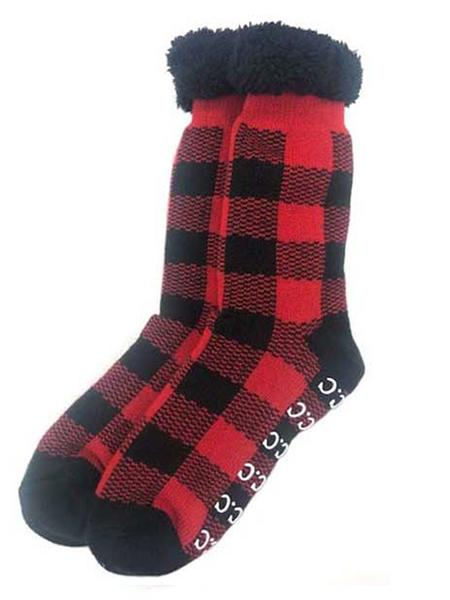Sherpa Socks, Buffalo Plaid Red and Black