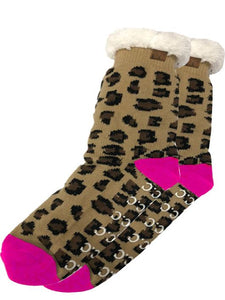 Sherpa Socks, Leopard and Pink