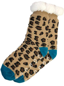 Sherpa Socks, Leopard and Turquoise