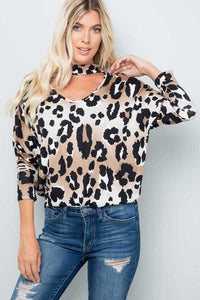 Leopard Print Chest Cutout Top