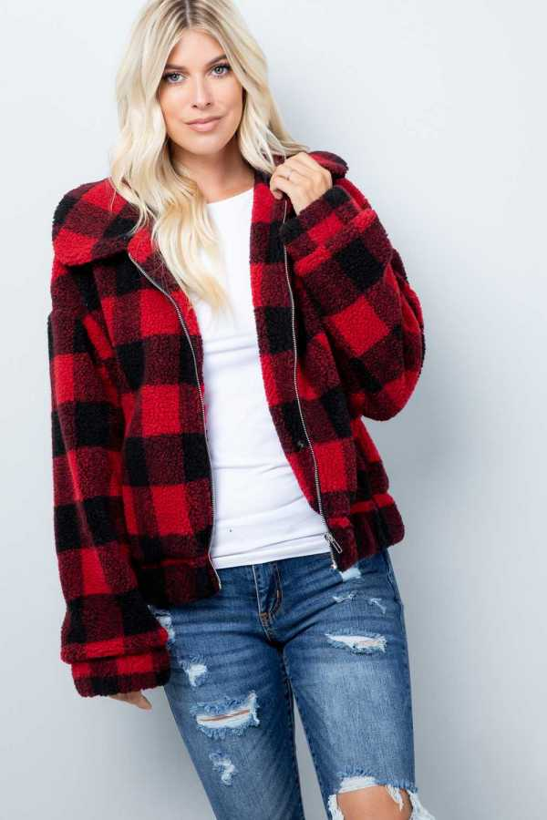 Plaid Sherpa Jacket, Red/Black