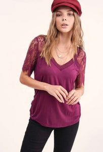 Lace Sleeve Top, Maroon