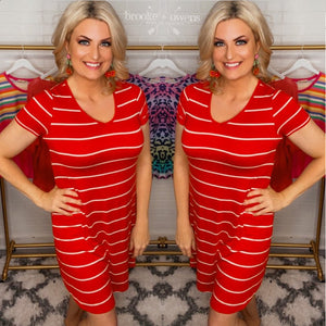 Striped V-Neck Dress, Red