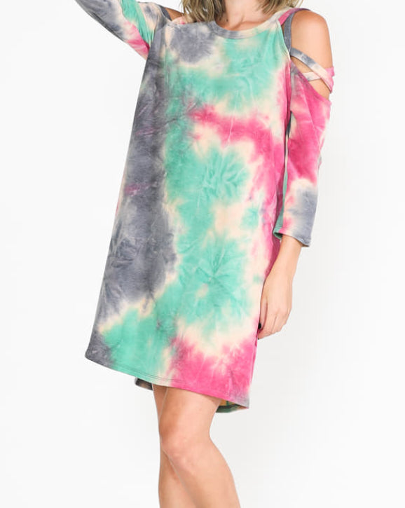 Tie Dye Dress with Criss Cross Sleeves