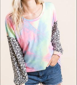 Tie Dye Top with Leopard Sleeves