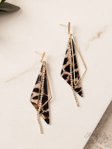 Angular Drop Earrings with Bling, Leopard