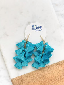 Multi Tassel Dangle Earrings, Turquoise