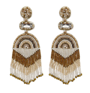 Tassel Bead Earrings, Cream/Gold