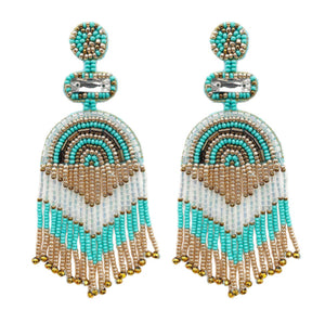 Tassel Bead Earrings, Turquoise/Cream
