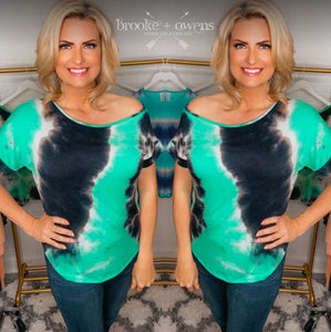 Tie Dye Print One Shoulder Top, Mint