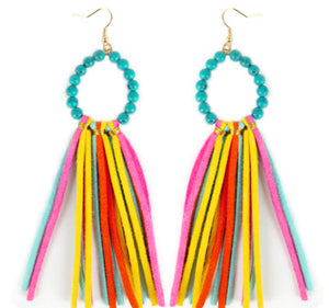 Turquoise Stone Earrings with Multi Color Tassels