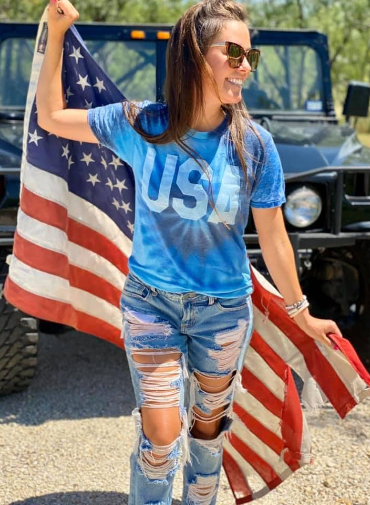 Blue Tie Dye USA T-Shirt