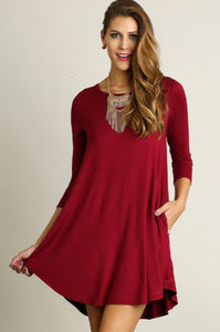 Scoop Neck T-Shirt Dress, Wine - brooke + owens