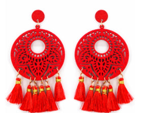 Wooden Detailed Tassel Earrings, Red
