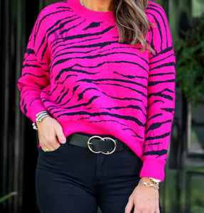 Animal Print Sweater, Fuchsia