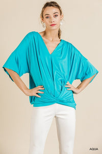 V-Neck Top with Gathered Front, Aqua