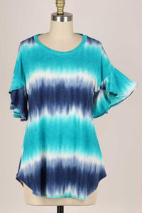 Tie Dye Ruffle Sleeve Top, Navy