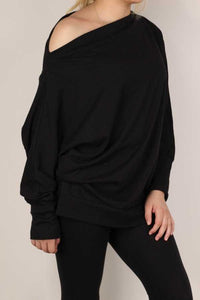 Loose Fit Off the Shoulder Top, Black
