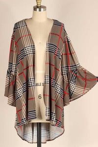 Bell Sleeve Plaid Cardigan