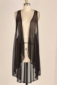 Solid Sheer Vest, Black