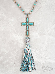 Glorious Grace Stone Cross Necklace, Turquoise