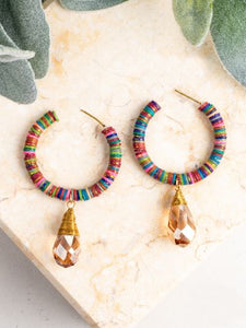 Beaded Hoop Earrings with Jewel