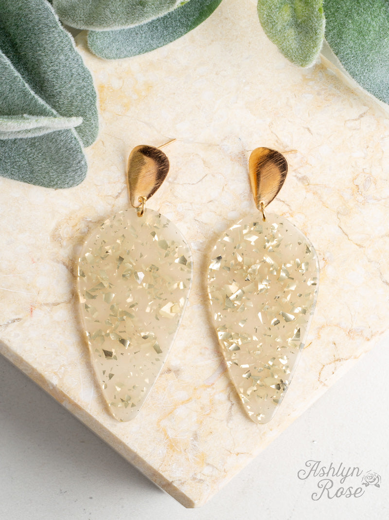 Drop of Perfection Earrings, Gold Sparkle