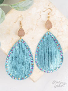 Fabric Pendant & Druzy Earrings, Tiffany Blue