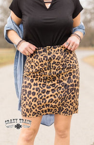 Leopard Button Skirt