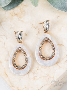 Mother of Pearl Teardrop Crystal Stud Earrings, Gold